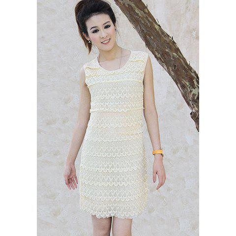 Graceful Sophisticated Layered Crochet Lace Embellished High-Waist Sleeveless Voile Women's Dress - APRICOT ONE SIZE