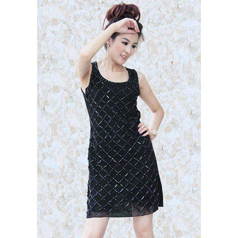 Gorgeous Sophisticated Slimming Rhinestone Embellished U-Neck Sleeveless Voile Women's Dress - BLACK ONE SIZE