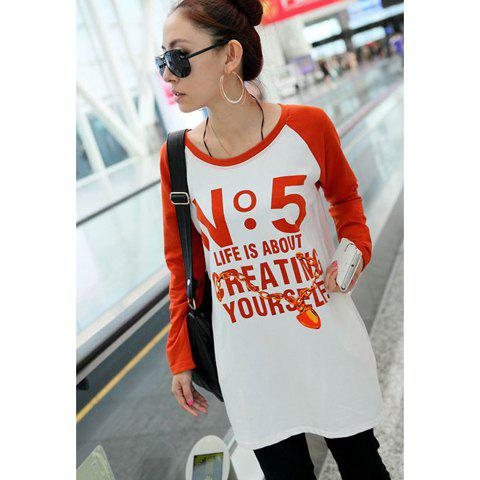 Fall Casual Style Letter Print Long Sleeve Loose-Fitting Sweater For Women - ORANGE ONE SIZE