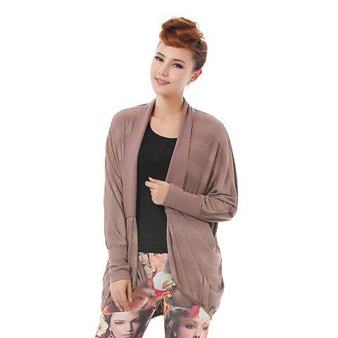 Morden Style Golden Stripe Batwing Sleeves Plus Size Cotton Blend Women's Cardigan - COFFEE ONE SIZE