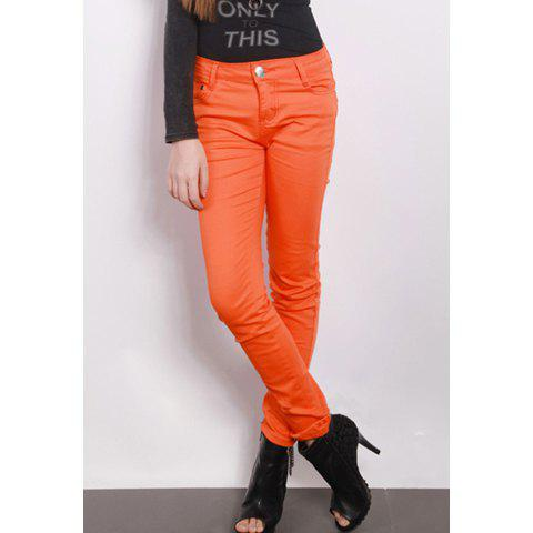 Simple Design Fashionable Style Candy Color Stretch Slimming Pants For Women - ORANGE L