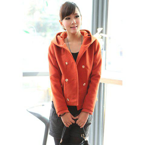 Fashional Double-Breasted Hooded Long Sleeve Woolen Fabric Women's Jacket - JACINTH XL