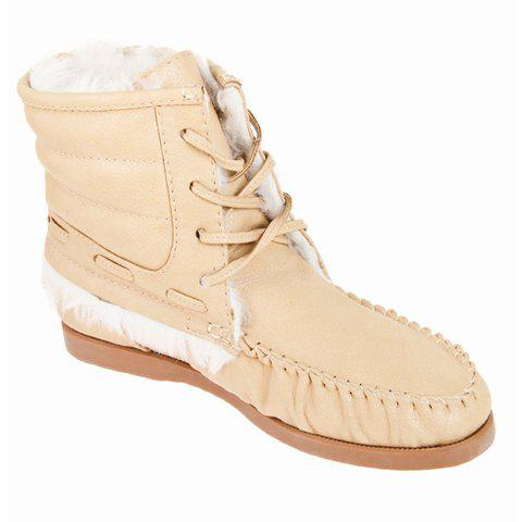 Lace-Up and Solid Color Design Women's Short Boots - APRICOT 35