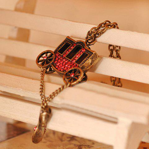 Sweet Rhinestone Inlaid Carriage and Crystal Shoes Shape Pendant Sweater Chain - AS THE PICTURE