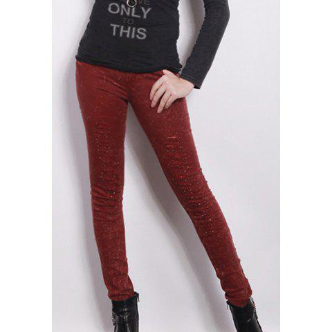 Stylish Slimming Fit Rhinestone Embellished Ripped Women's Skinny Jeans - CLARET S