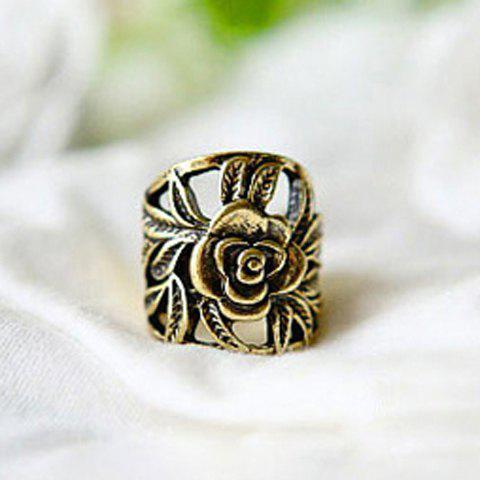 Retro Style Engraving Rose Shape Finger Ring - COPPER COLOR