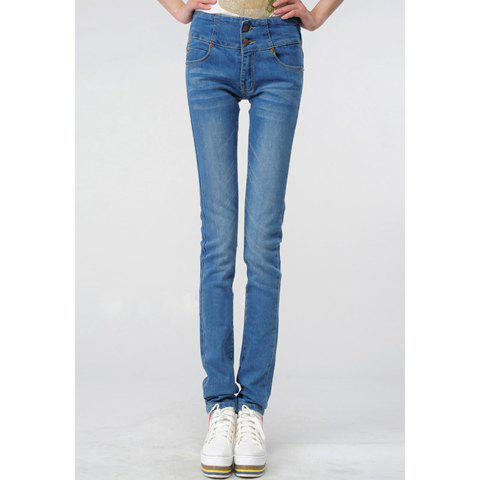 Stylish Slimming Fit Elastic Denim Women's Skinny Jeans - AS THE PICTURE S