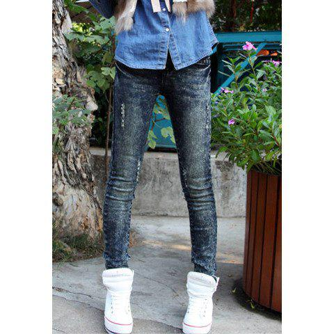 Chic Street Style Slimming Elastic Broken Hole Design Bottoming Pencil Jeans Women's Pants - BLUE 29