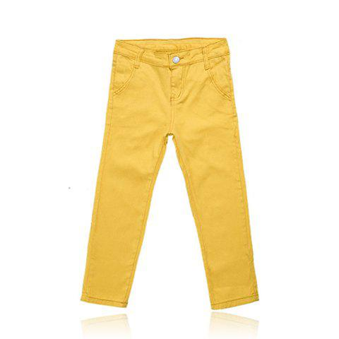 Sweet Casual Style Slimming Candy Color Bottoming Pencil Jeans Women's Capri Pants - YELLOW 26