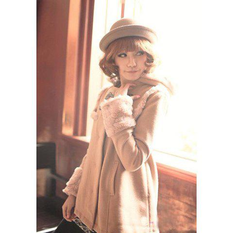 Hooded Oxhorn Button and Artificial Wool Embellished Design Women's Wool Blended Coat - KHAKI L