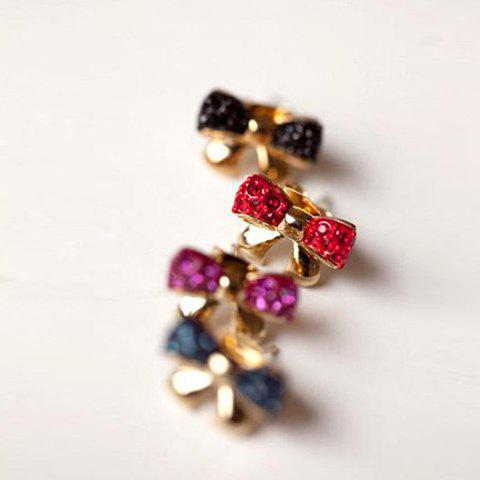 Pair of Korea Style and Stunning Rhinestone Inlaid Bowknot Shape Ear Studs - COLOR ASSORTED