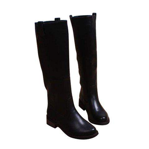 Siold Color and Buckle Design PU Women's Mid-calf Boots - BLACK 37