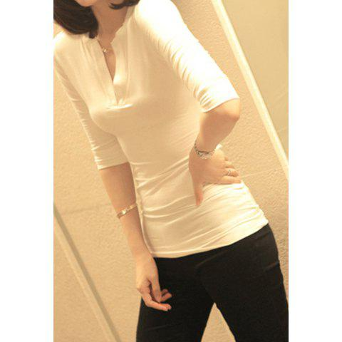 Sexy V-Neck Slimming Three Quarter Sleeve Pure Color T-Shirt For Women - WHITE ONE SIZE