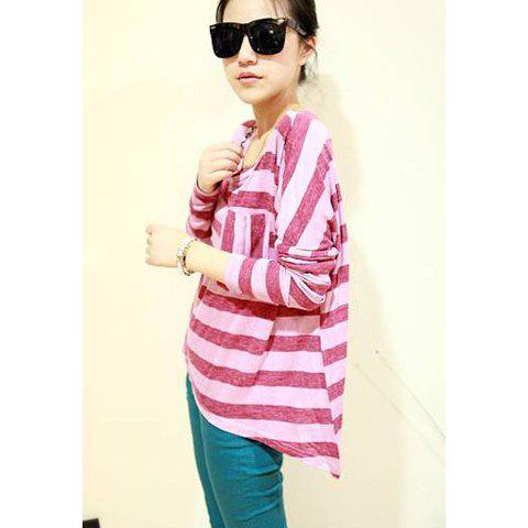 Chic Street Style Loose-Fitting Asymmetric Hem Stripe Pattern Batwing Sleeves Modal Women's T-Shirt - PINK ONE SIZE