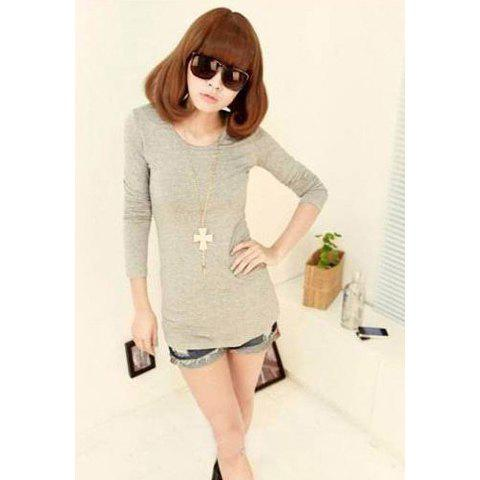 Laconic Modern Style Long Slimming Solid Color Long Sleeves Modal Women's T-Shirt - GRAY ONE SIZE
