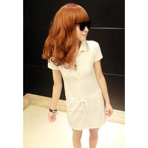 Preppy Style Lapel Drawstring Short Sleeve Cotton Women's Dress - WHITE ONE SIZE