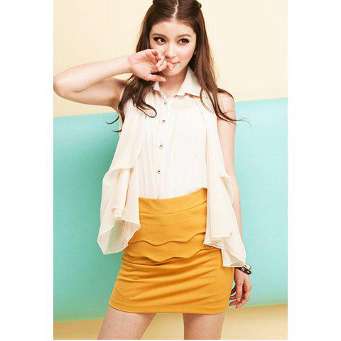 Mix Match Solid Color and Back Hidden Zipper Design Women's Polyester Skirt - YELLOW M