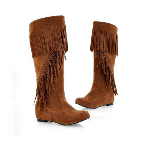 Laconic Casual Solid Color Tassels Design Women's Boots - COFFEE 36