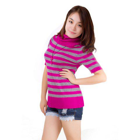 New Arrival Half Sleeve Turtleneck Stripes Sweater For Women - PURPLE