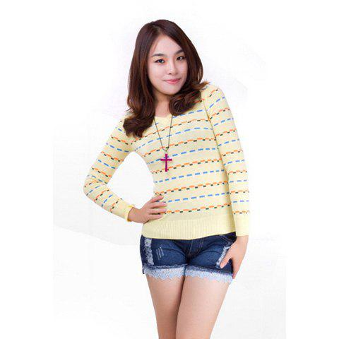 Colorful Blocks Long Sleeve Knitted Sweater For Women - YELLOW