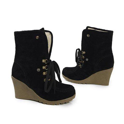 Solid Color and Lace-Up Design Women's Boots - BLACK 38