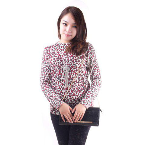 Fashionable Leopard Print Long Sleeve Knitted Sweater For Women - PURPLE