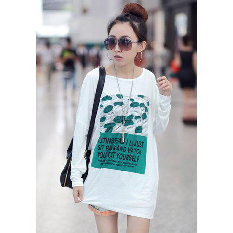 Casual Style Loose-Fitting Scoop Neck Green Letters Print Dolman Sleeves Cotton Blend Women's T-Shirts - WHITE ONE SIZE