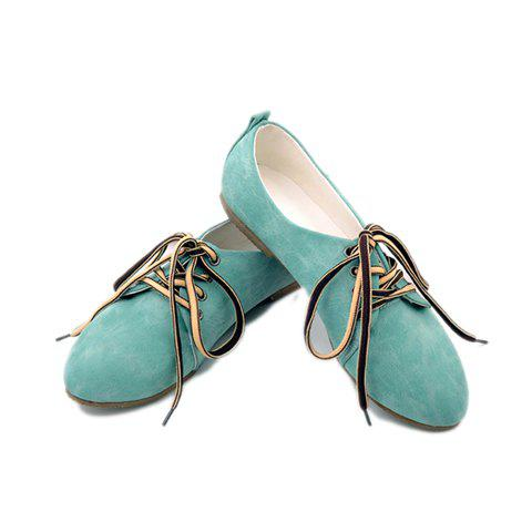 Solid Color and Lace-Up Design Women's Flats - BLUE 38
