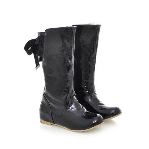 Bowknot and Solid Color Design Women's Boots - BLACK 36