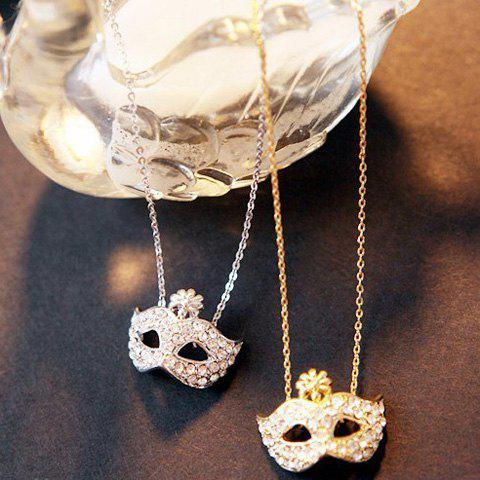 Rhinestone Flower Inlaid Masque Shape Pendant Necklace - COLOR ASSORTED
