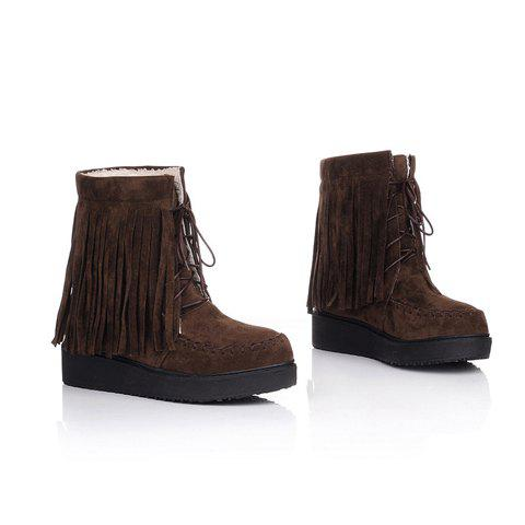 Tassels and Lace-Up Design Women's Platform Boots - BROWN 38