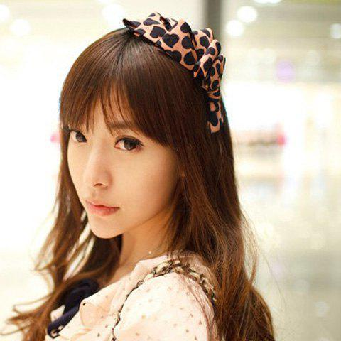 Fashion and Sweet Heart Print Multi-Layered Bowknot Embellished Hair Band - AS THE PICTURE