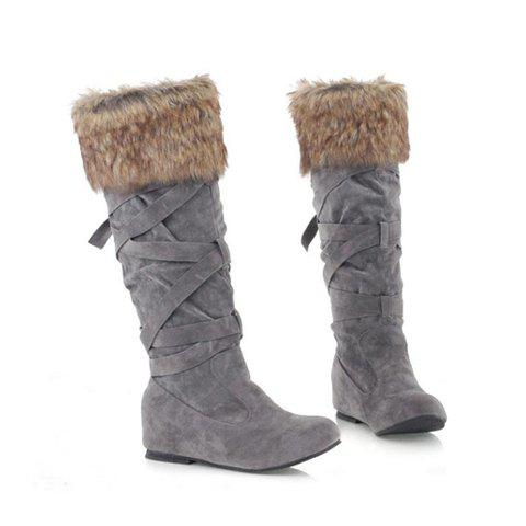 Solid Color and Imitation Fur Design Women's Boots - GRAY 37