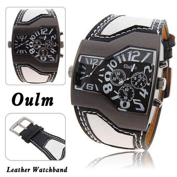 Oulm Multi-Function Dual Movt Leather Wrist Watch with Quartz Dial for Male - BLACK/WHITE