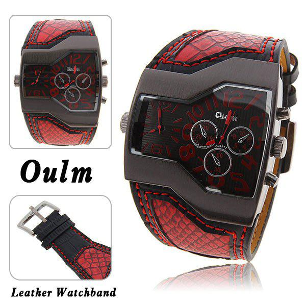 Oulm Multi-Function Dual Movt Leather Wrist Watch with Quartz Dial for Male