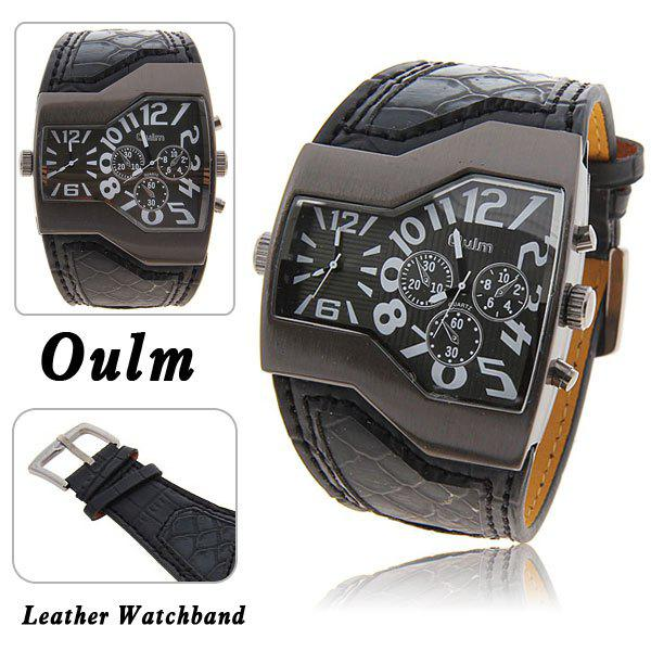 Oulm Multi-Function Dual Movt Leather Wrist Watch with Quartz Dial for Male - BLACK