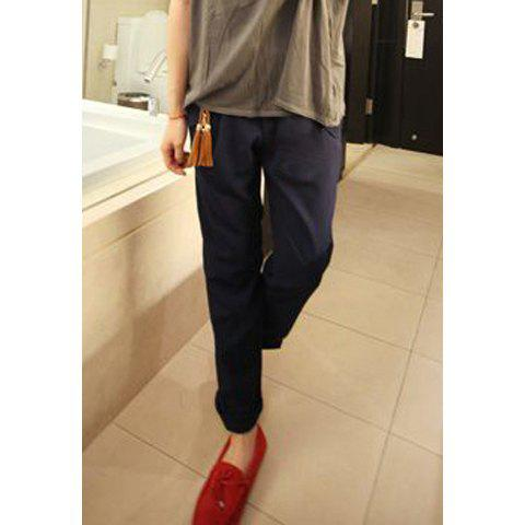 Fashionable Slimming Solid Color With Fringes Waistband Cotton Blend Women's Pants - SAPPHIRE BLUE M