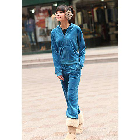 Casual Style Solid Color Hooded Pocket Design Long Sleeves Long Pants Velvet Women's Suit - LAKE BLUE M