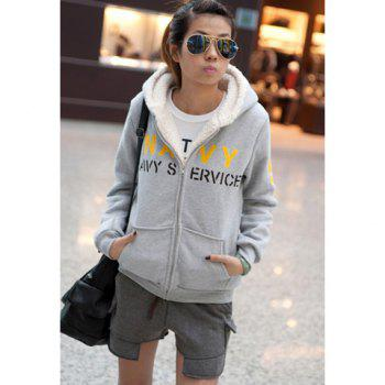 Stylish Hooded Zipper Design Thicken Long Sleeves Letter Printed Woolen Yarn Women's Hoodies - GRAY ONE SIZE