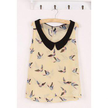 Lapel Casual Fashion Color Matching Birds Printed Sleeveless Women's Shirt