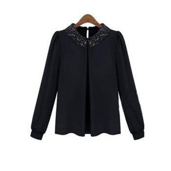 Retro Sequin Embellished Turndown Collar Puff Sleeve Chiffon Women's Shirt - BLACK BLACK