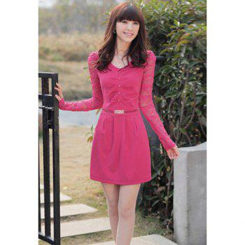 Elegant V Neck Long Sleeve Lace Embellished Women's Dress