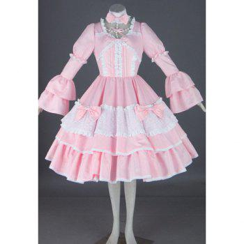 Layered and Pleated Design Lolita Halloween Cosplay Costume For Women
