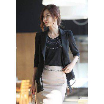 Slim Fit Splicing Chiffon Three Quarter Sleeve Women's Blazer