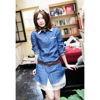 Trendy Lace Lapel Polka Dot Print Denim Women's Shirt