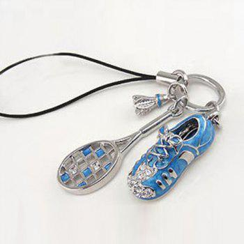 Korea Style Rhinestone Embellished Racquet and Shoe Pendant Mobile Chain