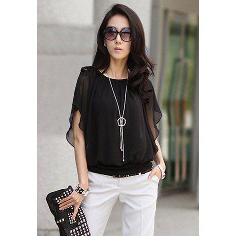 OL Style Solid Color Dolman Sleeve and Elastic Hem Design Women's Chiffon Blouse