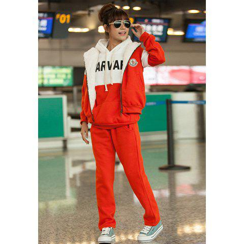Casual Style Letters Print Thicken Fleeces Three-piece Cotton Blend Women's Hoodie Suit - JACINTH M