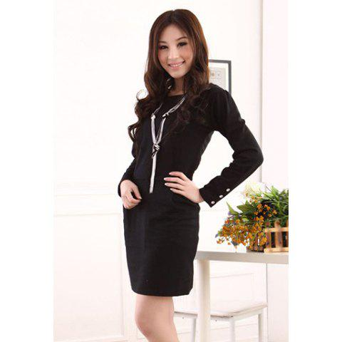 Elegant Style Pleat Dedign Buttons Embellished Long Sleeves Thicke Cotton Blend Women's Dress - BLACK M