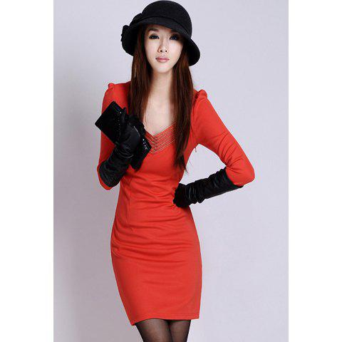Elegant V-Neck Long Sleeve Pure Color Women's Dress - RED XL